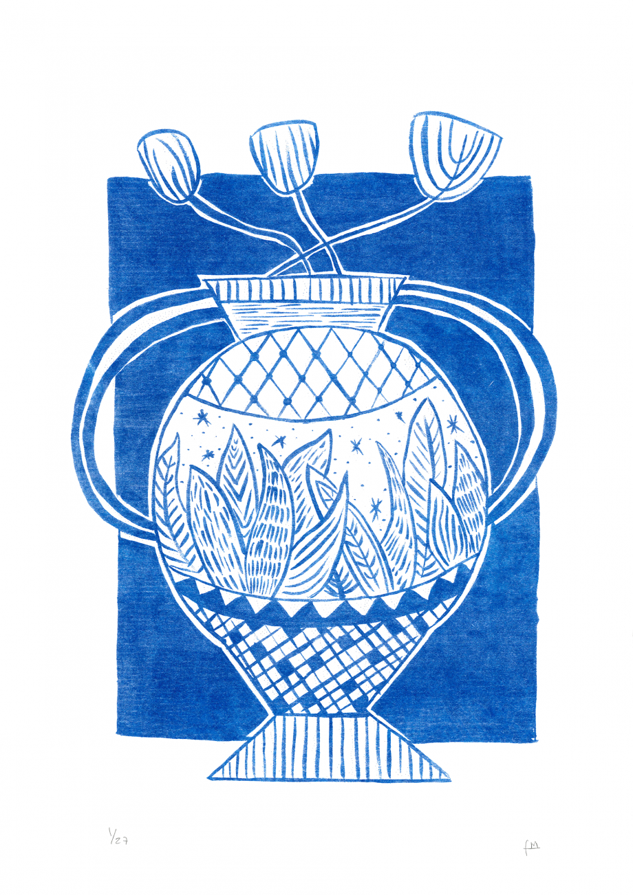 Blue tulips in a pot Matisse inspired illustration, beautiful poster made by Fernanda Maria, a local artist originally from Chile and based in Barcelona