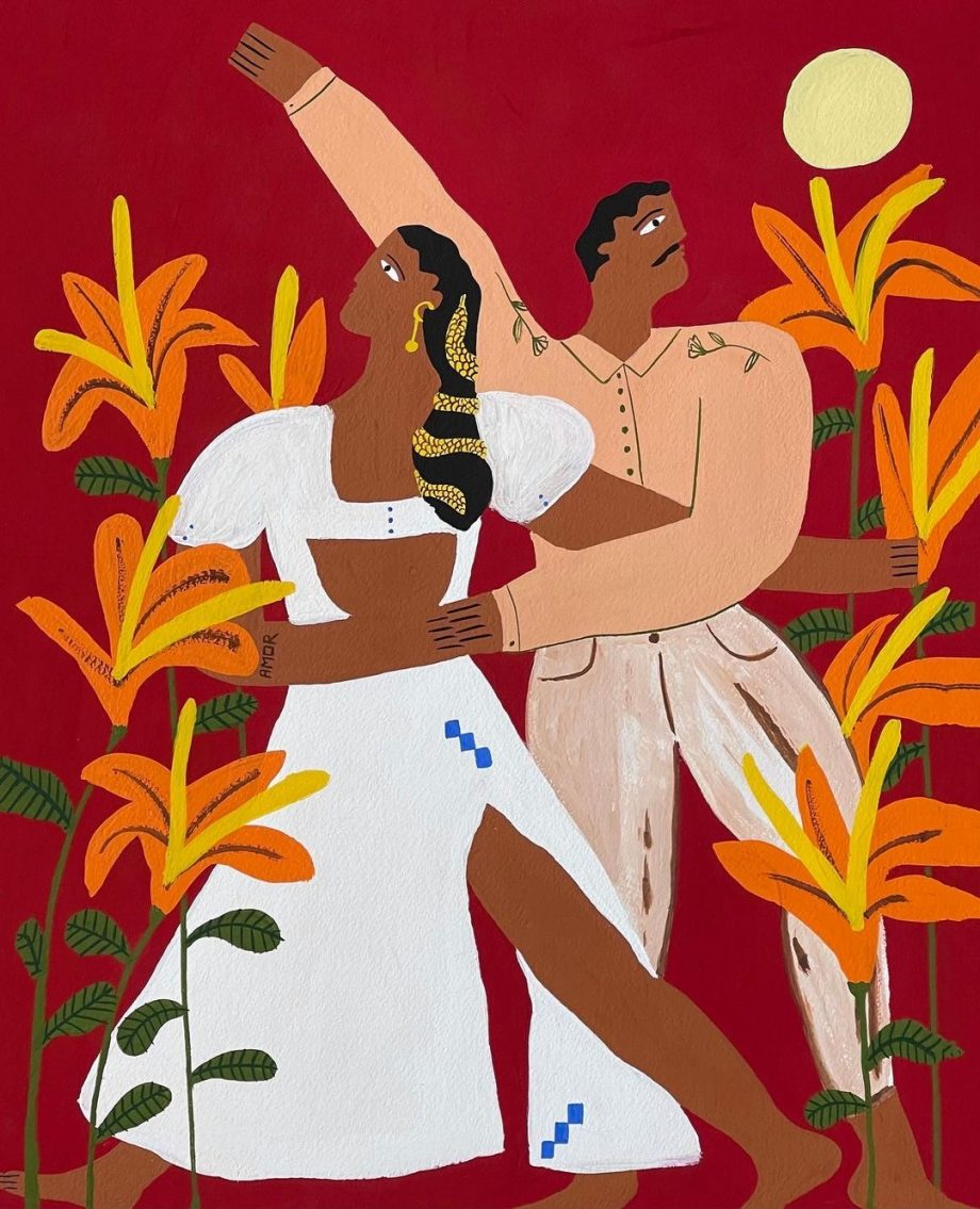 Couple dancing painting affordable art by Aida Faura instagram artist