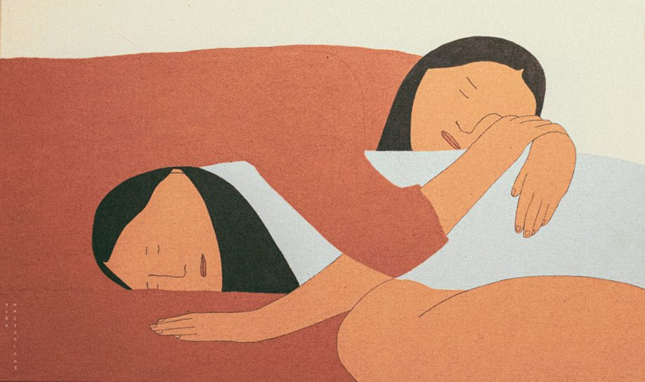 Sleeping woman painting about friendship, two woman inlove, lgbt painting