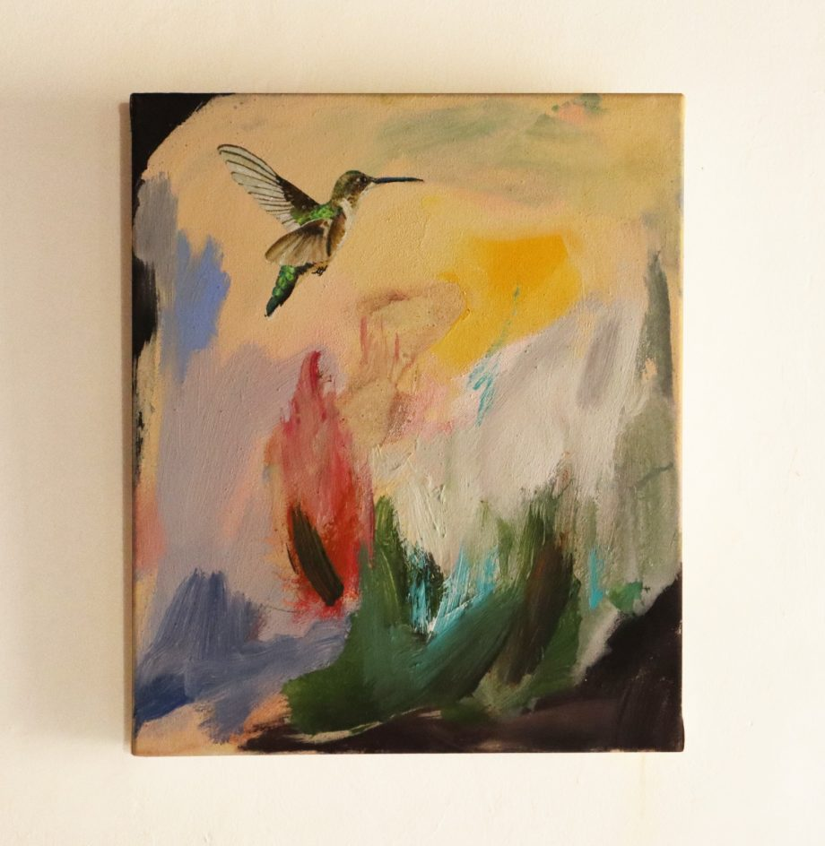 Painting affordable art for sale, hummingbird painting figurative art available in Barcelona
